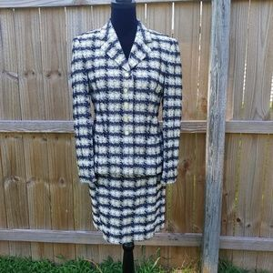 Escada Margaretha Let plaid metallic suit